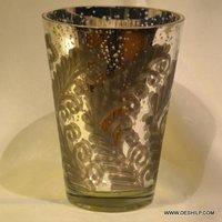 Handmade Silver Finish Candle Votive