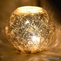 Round Glass Silver Candle Votive