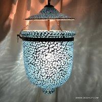 Blue Mosaic Glass Decor Wall Hanging