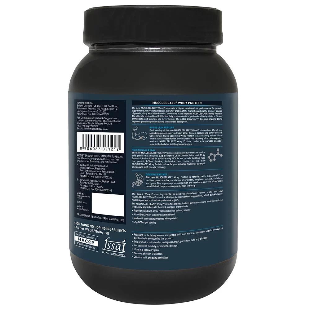 MuscleBlaze Whey Protein, 2.2 lb(1kg) Strawberry