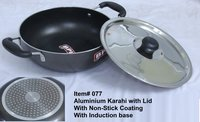 Aluminium Karahi, Non Stick with Induction Base