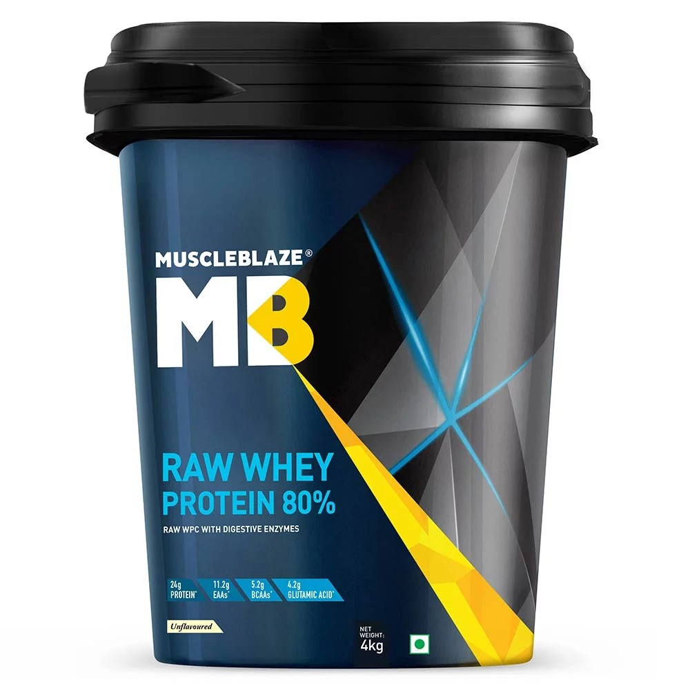 MuscleBlaze Raw Whey Protein, 8.8 lb (4kg)Unflavoured