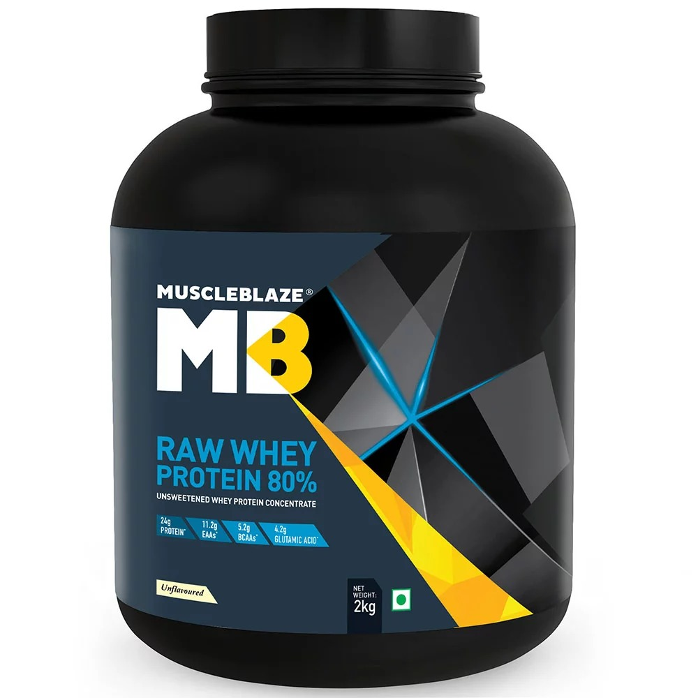 MuscleBlaze Raw Whey Protein, 4.4 lb(2kg) Unflavoured