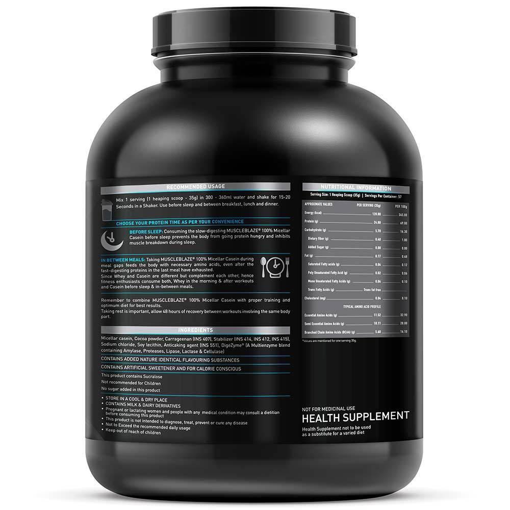MuscleBlaze 100% Micellar Casein, 4.4 lb(2kg) Chocolate
