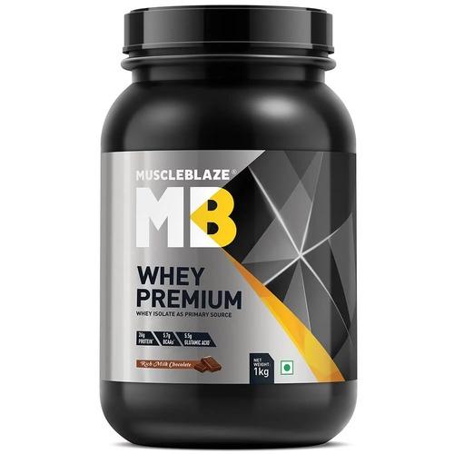 MuscleBlaze Whey Premium, 2.2 lb(1kg) Rich Milk Chocolate