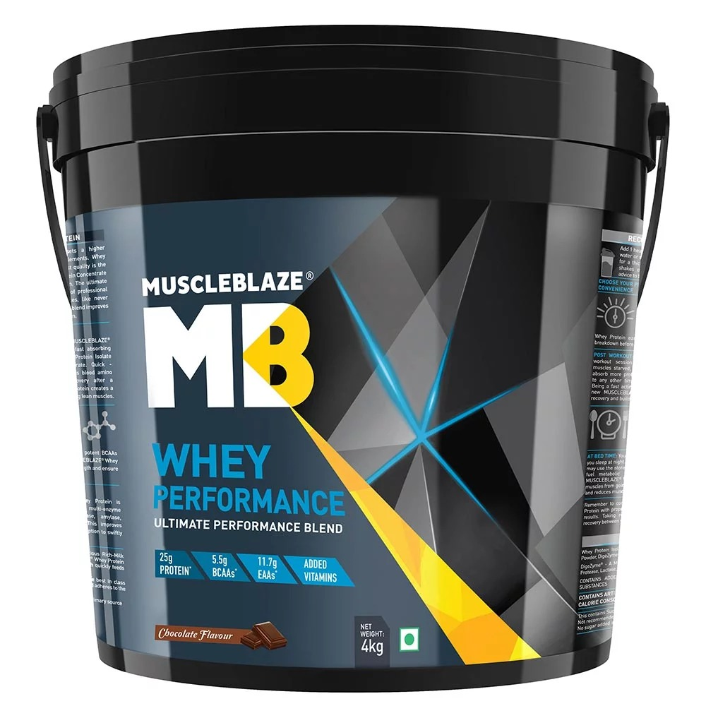 MuscleBlaze Whey Performance (70%) Protein, 8.8 lb (4kg)Chocolate