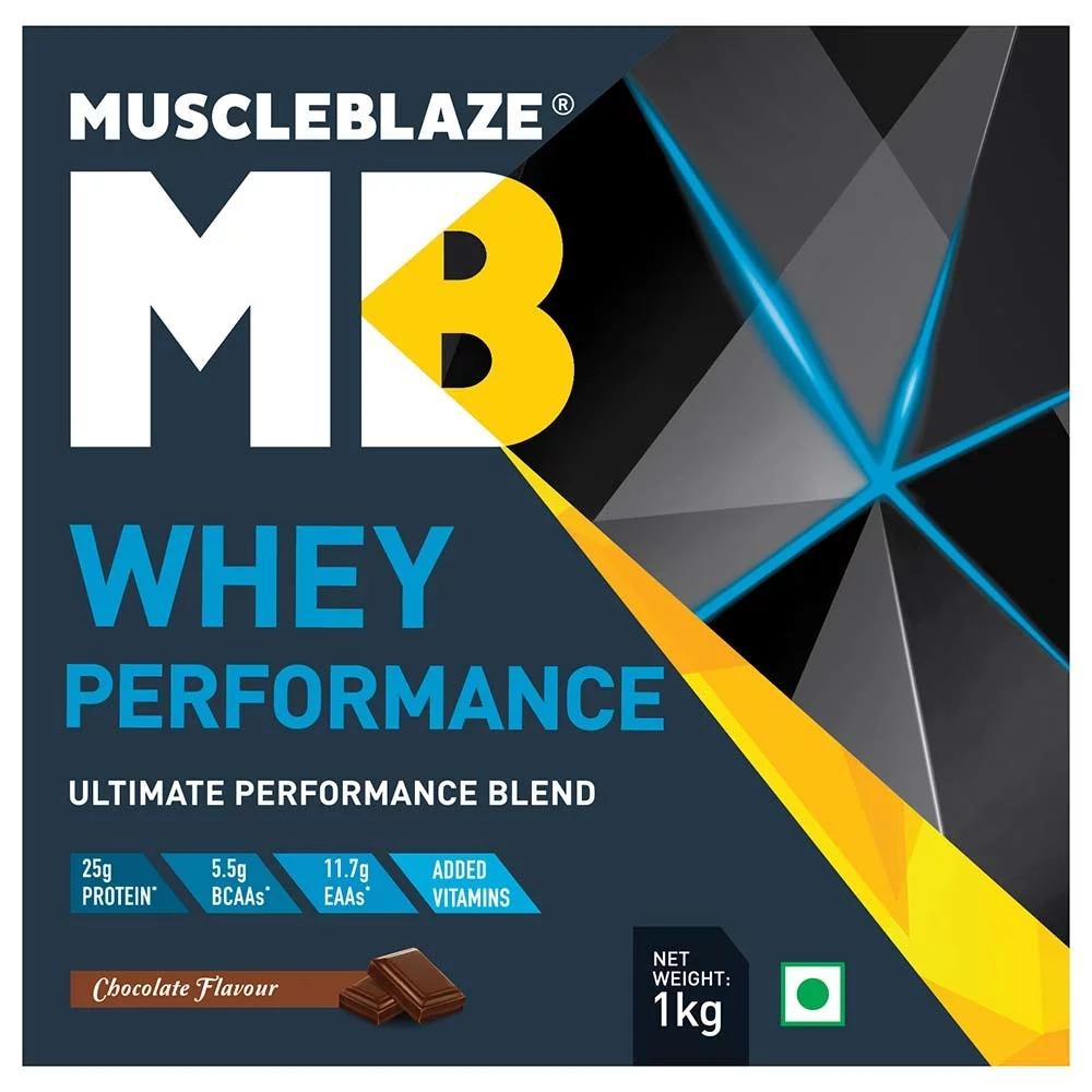 MuscleBlaze Whey Performance (70%) Protein, 2.2 lb (1kg)Chocolate
