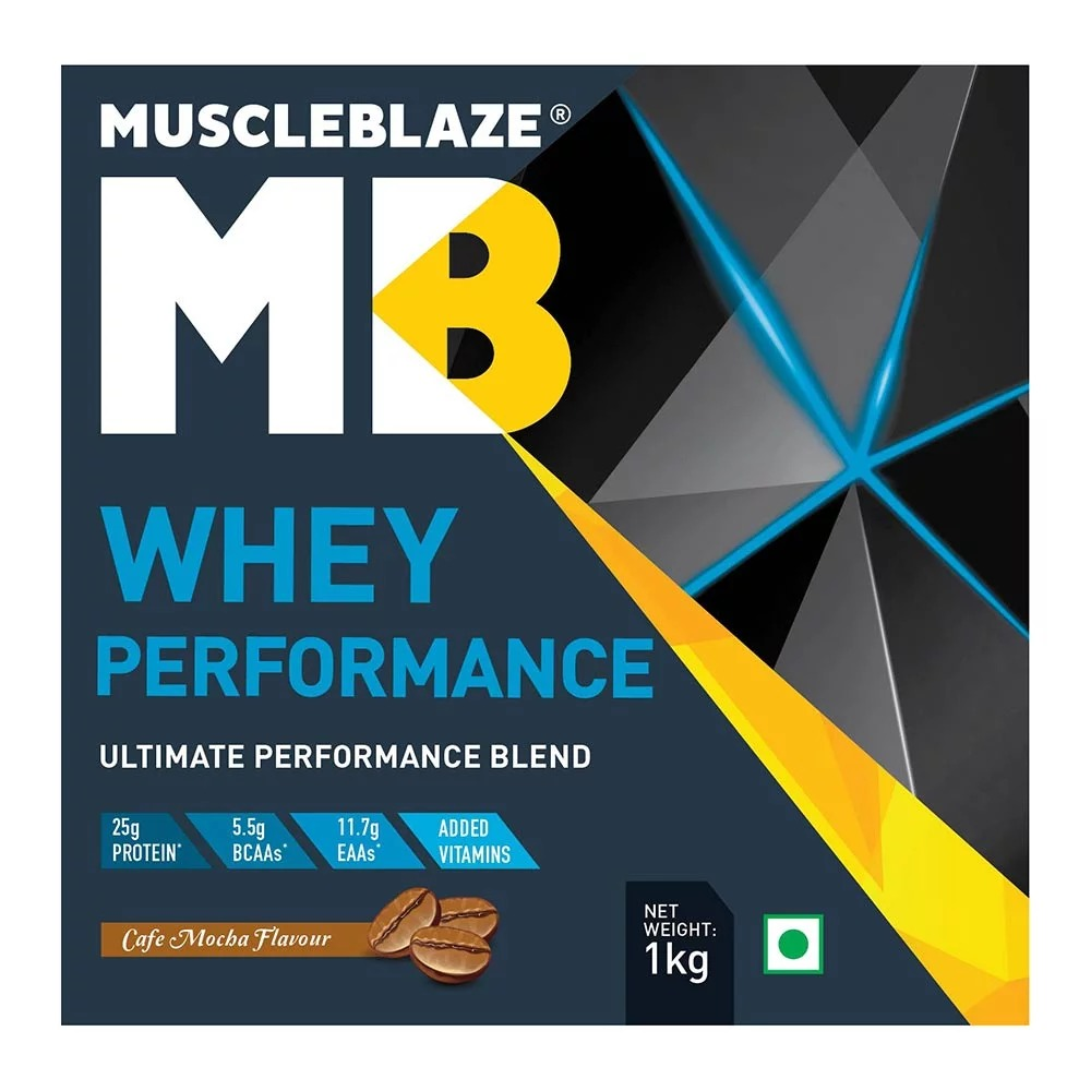 MuscleBlaze Whey Performance (70%) Protein, 2.2 lb(1kg) Cafe Mocha