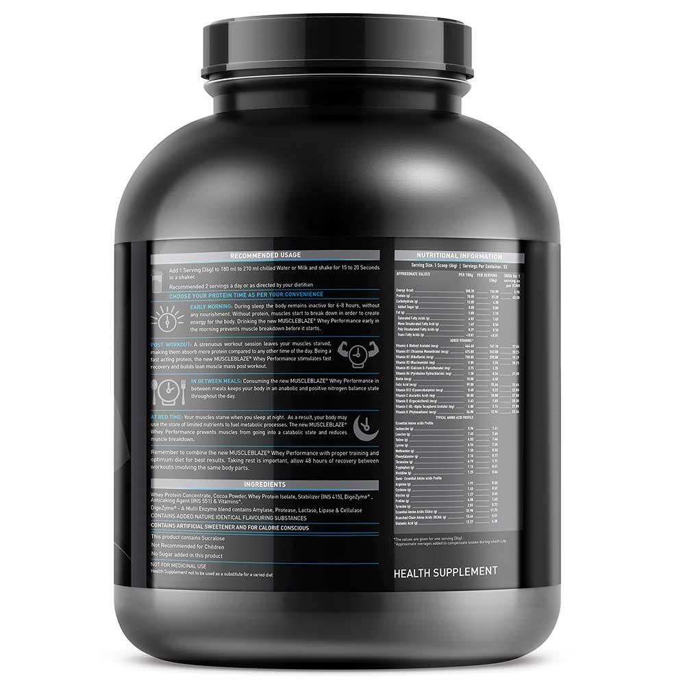 MuscleBlaze Whey Performance (70%) Protein, 4.4 lb(2kg) Cafe Mocha