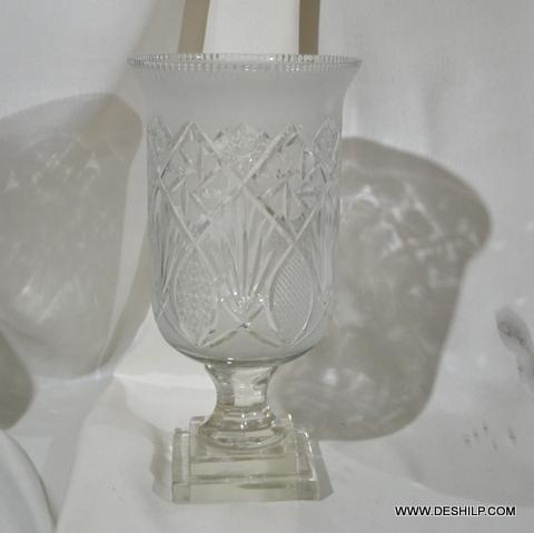 Crystal Cutting Glass Hurricane Candle Holder