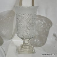 Crystal Cutting Glass Hurricane Candle Holder