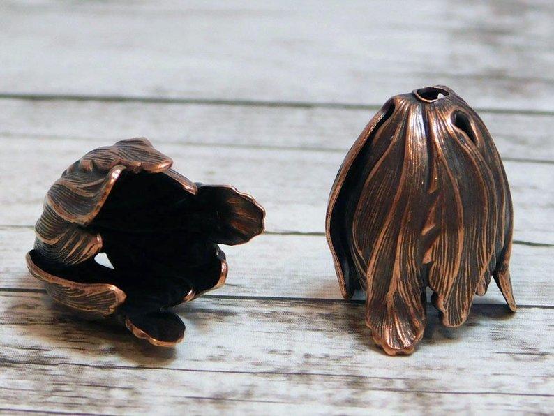 Antiqued Copper Tulip Flower Bead Caps