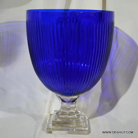 Big Blue Glass Hurricane