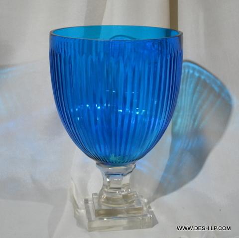 Sky Blue Color Glass Hurricane