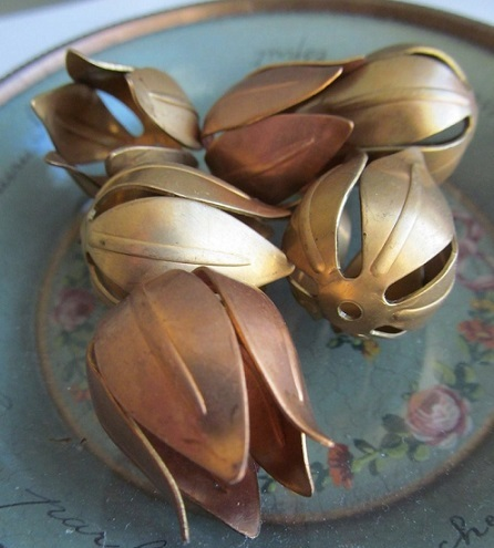 6 Vintage Copper Tulip Flowers