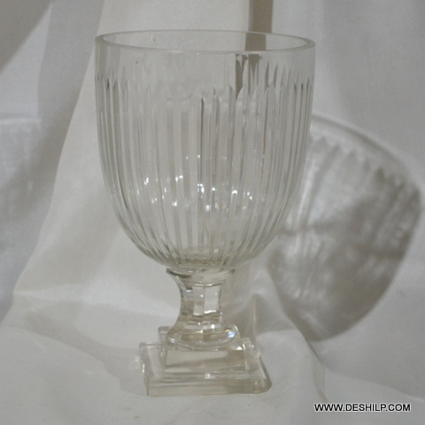 Crystal Cutting Antique Hurricane Candle Holder