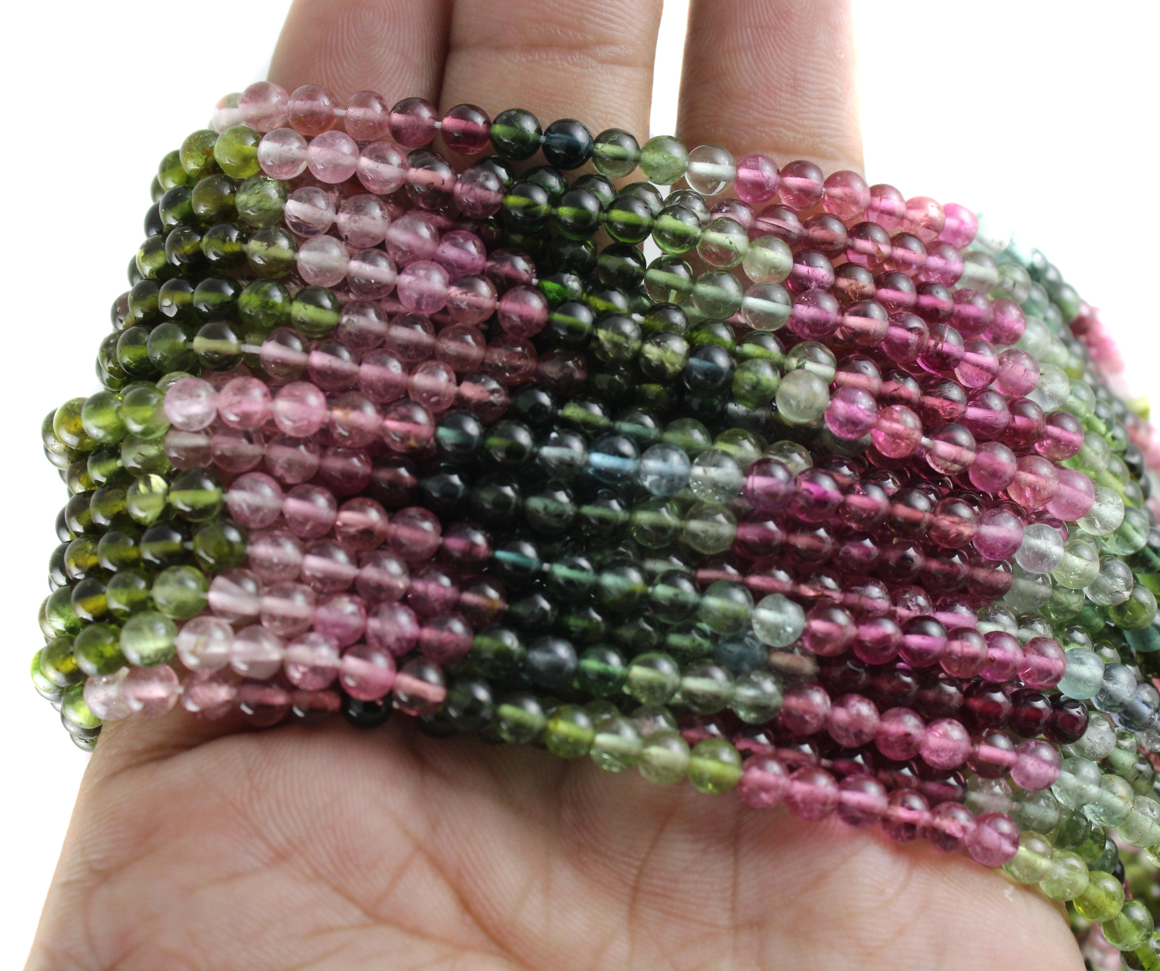 Multi Tourmaline Round Beads