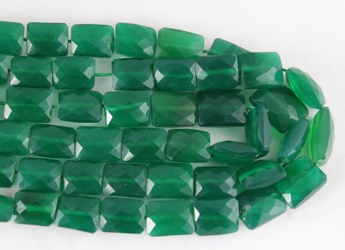 Green Onyx Chicklet Beads