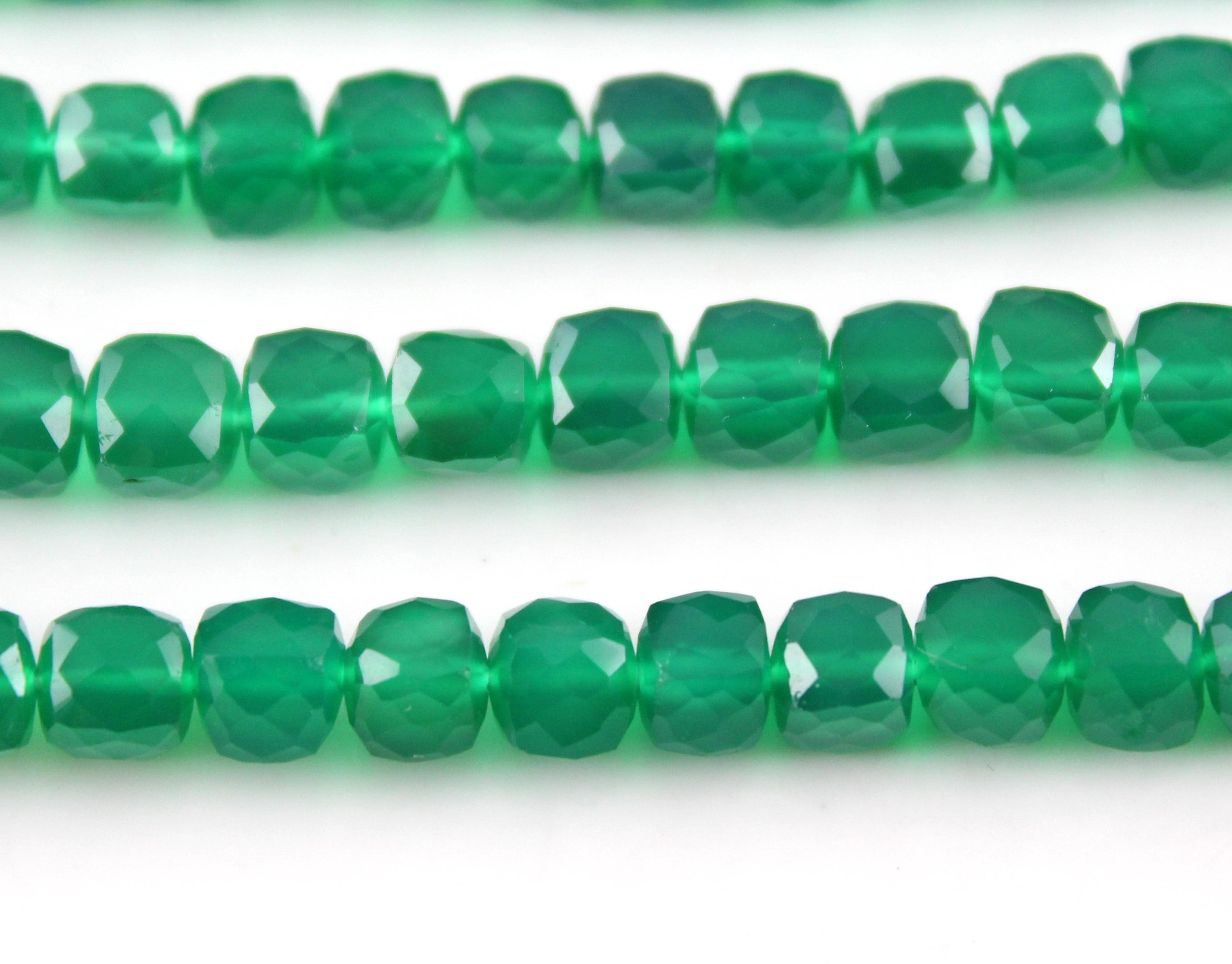 Green Onyx Box Beads