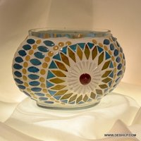 T Light Candle Holder With Mosaic