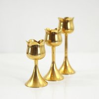 Trio Of Mid Century Brass Tulip Candlesticks