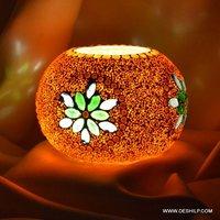 Orange Color Glass T Light Candle
