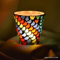 Small Glass Mosaic Votive Holder