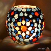 Egg Shape Glass Mosaic Candle