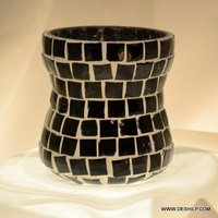 Black Mosaic Hand Decor Candle Holder
