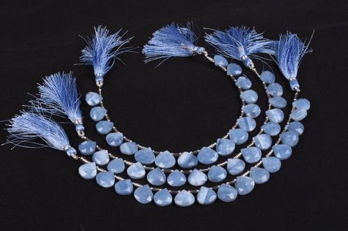 Blue Opal Heart Beads