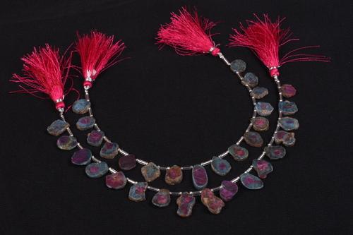 Ruby Ziosite Rough Slice Beads