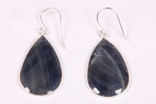 Blue Sapphire Silver Earrings
