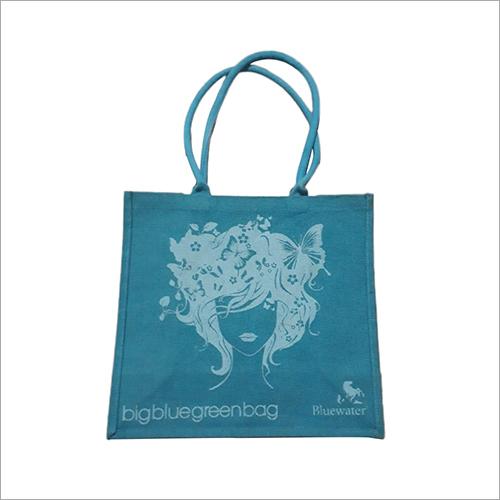 Blue Natural Burlap Printed Jute Bag