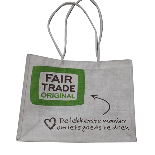Advertisement White Printed Jute Bag