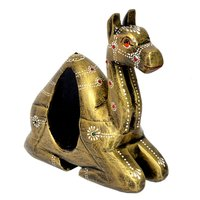 Home Decor Indian Handmade Wooden Painted Setting Camel With Bell