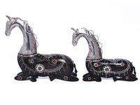 Decorative Indian Handmade Wood And Iron Painted Setting Horse
