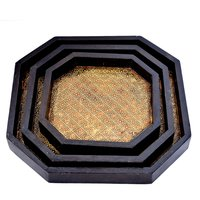 Home Decorative Gift Purpose Handmade Brass Coated Wooden Trays