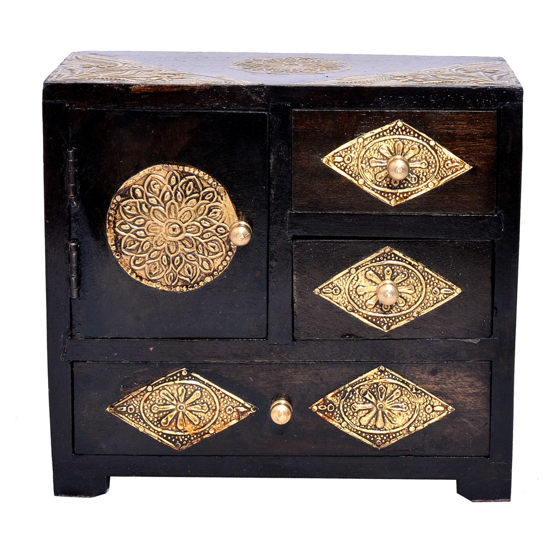 Indian Handmade Home Decor Craft Brass Coated Design Polished Wooden Drawer