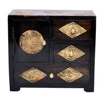 Indian Handmade Home Decor Craft Brass Coated Design Polished Wooden Drawer