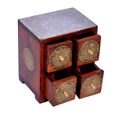 Home Decor Craft Brass Coated Design Polished Wooden 4 Rack Drawer