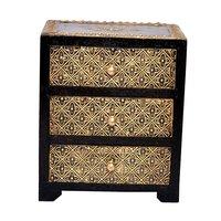 Designer Home Decorative Brass Coated Design Polished Wooden 3 Rack Drawer