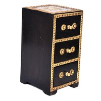 Vintage Style Indian Handmade Home Decor Brass Coated 3 Rack Wooden Drawer