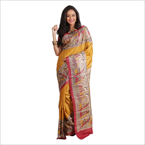 Ladies Printed Linen Silk Saree
