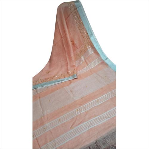 Linen Designer Plain Saree