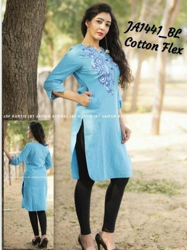 Embroidered straight cotton kurti