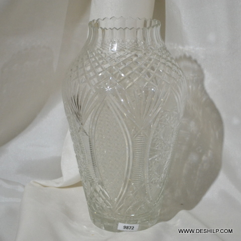 Clear Glass Antique Crystal Cutting Flower Vase