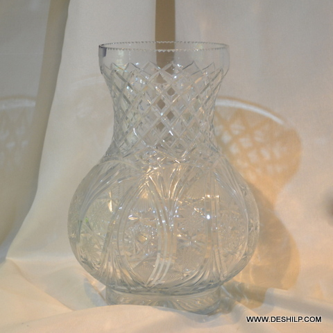 Crystal Cutting Glass Flower Vase