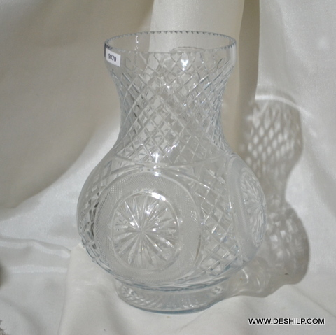 Heavy Hand Cut Glass Flower Vase
