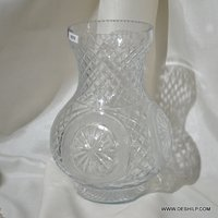 Heavy Hand Cut Glass Flower Vase