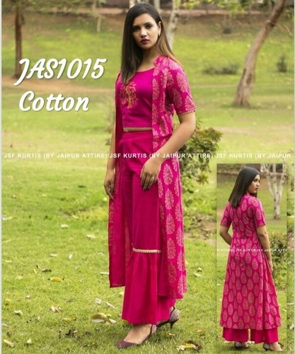 Designer Cotton Kurti With Sharara